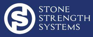 stone logo blue block